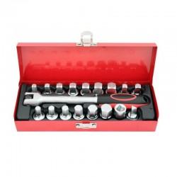 Conjunto de vasos y maneral para tornillos de cárter
