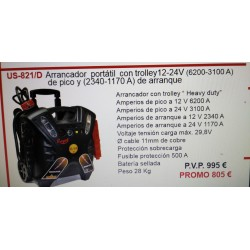 ARRANCADOR PORTATIL CON TROLEY 12-24V(6200-3100A)