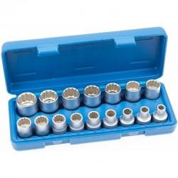"""Llaves de vaso bi-hexagonal cortos 1/2"""" 8-24 mm,16 piezas"""